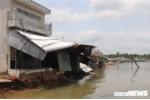 Sạt lở ngay vị trí thi công bờ kè sông ở Cần Thơ, 11 căn nhà bị ảnh hưởng