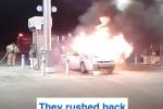 Tá hỏa ô tô cháy ngùn ngụt sát trụ bơm xăng