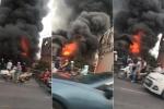 Clip: Cháy lớn nhà dân dưới chân cầu Vĩnh Tuy, Hà Nội