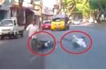 Clip: Phanh gấp tránh người đi bộ, thanh niên đi xe máy ngã như phim hành động