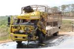 Vào cua gấp, 2 xe tải húc nhau, cabin bẹp dúm