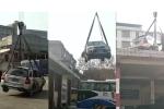 Clip: Nghênh ngang đỗ giữa trạm xe buýt, ô tô bị cẩu thẳng lên mái nhà