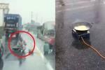 Clip: Mang bếp gas ra giữa cao tốc nấu mì, gây tai nạn, ùn tắc kéo dài