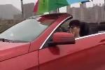 Video: Thanh niên lái xe mui trần cầm ô che mưa