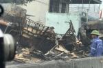 Hai xe tải tông vào nhau rồi bốc cháy dữ dội, hai người chết cháy trong cabin