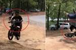 Clip: Thanh niên ngã lộn cổ khi biểu diễn xe máy