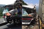 Clip: Đầu xe khách nát bét sau cú đấu đầu container ở Đà Nẵng