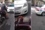 Taxi chạy ngược chiều bị SH ép lùi hàng chục mét