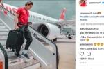 Cầu thủ 'náo loạn' mạng xã hội với những bức ảnh triệu like check-in máy bay đến Nga dự World Cup 2018