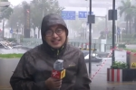 Video: Phóng viên đưa tin bão MANGKHUT hoảng hồn khi tường kính nhà cao tầng rơi ngay phía sau