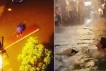 Clip: Những cảnh tượng 'cười ra nước mắt' khi Hà Nội phố biến thành sông