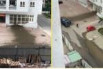 Xe bồn phát nổ, chất thải bắn tung tóe khắp sân chung cư ở Hà Nội