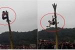 Clip: Trèo cây chuối trong lễ hội đầu xuân, nam thanh niên té ngã đau đớn