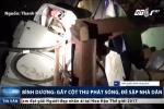 Bình Dương: Cột thu phát sóng bị gió quật đổ, đè sập nhà dân