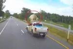 Bò thơ thẩn sang đường, bị xe bán tải húc bay lên trời