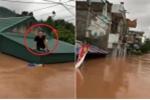 Clip: Dân Quảng Ninh đi xuồng máy, ngồi trên nóc nhà nhìn nước lũ bao vây