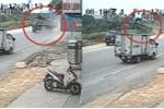 Xe tải mất lái phi lên đường tàu ở Quảng Ninh