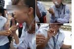 Phản cảm hình ảnh nữ sinh phì phèo thuốc lá trong ngày khai giảng