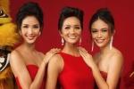 Hoa hậu H'Hen Niê diện trang phục đỏ rực, 'đọ' sắc cùng 2 Á hậu ngày đầu năm Mậu Tuất