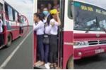 Hoảng hồn clip hàng chục học sinh đu bám cửa xe buýt chạy vun vút trên quốc lộ