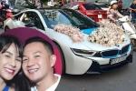 Chú rể Đức Phạm tự lái siêu xe BMW 7 tỷ đến đón Diệp Lâm Anh trong lễ rước dâu