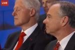 Cựu Tổng thống Bill Clinton ngủ gật khi nghe vợ phát biểu