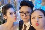 Ngọc Hân giản dị đến chúc mừng Á hậu Tú Anh trong ngày cưới