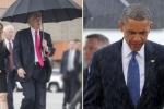 Ảnh đối lập Obama và Trump đi trong mưa gây sốt