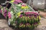 Xe rước dâu trang trí kín mít hoa ở Nghệ An xôn xao mạng xã hội