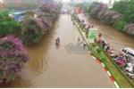 Mưa lớn suốt 3 giờ, đường phố Thái Nguyên mênh mông nước