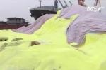 Video: Cận cảnh hàng vạn tấn lưu huỳnh chất đống ở cảng Hải Phòng