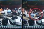 Clip: Xe máy lao vào bàn nhậu khiến dân mạng cười chảy nước mắt