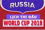 Lịch thi đấu bóng đá World Cup 2018 tại Nga theo giờ Việt Nam hôm nay