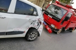 Xe cứu hỏa đâm liên hoàn 4 ô tô con trên phố Hà Nội