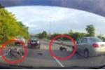 Clip: Xe máy phóng bạt mạng tông đuôi ô tô và cái kết như phim hành động