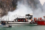 Cháy tàu du lịch chở 21 người trên vịnh Hạ Long lúc rạng sáng