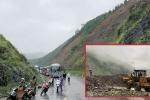 Hàng trăm m3 đất đá đổ ập xuống, quốc lộ 12 Lai Châu đi Điện Biên tê liệt