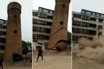 Khoảnh khắc kinh hoàng ống khói khổng lồ đổ sập, chôn vùi công nhân