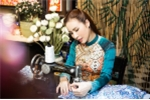 Hoa hậu Hoàng Dung yêu kiều trong tà áo dài đón xuân