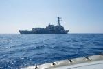 Tàu chiến Mỹ diễn tập gần đá Vành Khăn ở Trường Sa