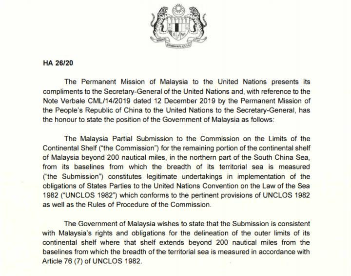 Malaysia gửi công hàm lên LHQ phản đối yêu sách của Trung Quốc ở Biển Đông