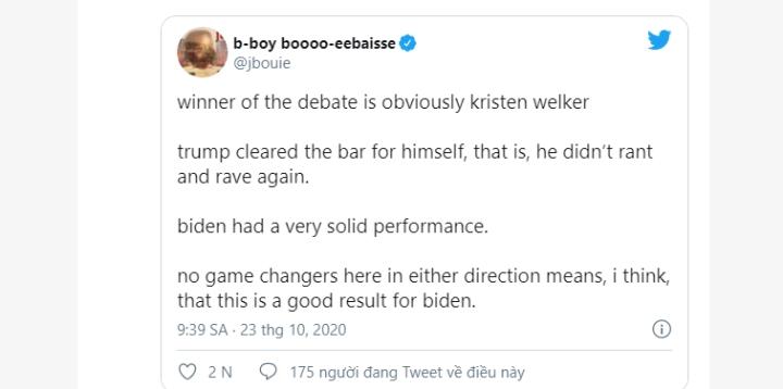 Ông Trump nhã nhặn, người dùng Twitter thấy buổi tranh luận nhạt - 3