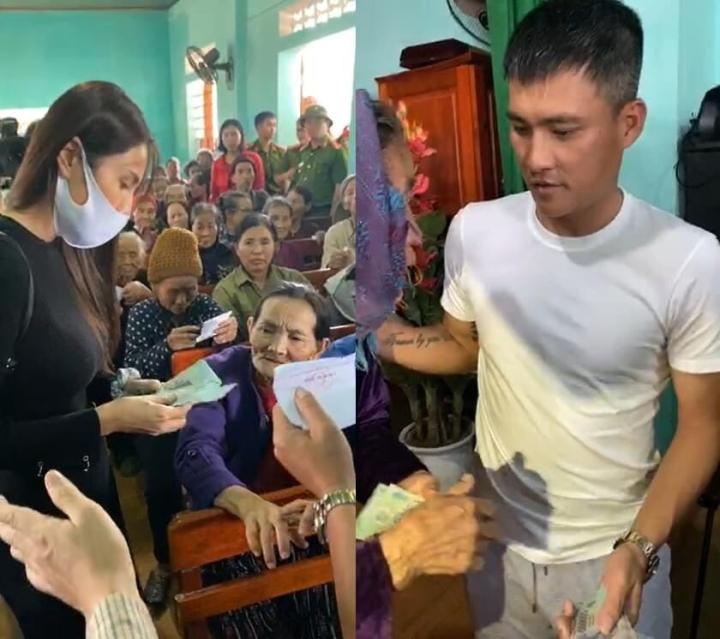 Dân nghèo rốn lũ Hà Tĩnh nhận quà từ vợ chồng Công Vinh - Thủy Tiên - 1