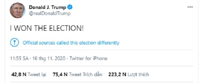 Tổng thống Trump tiếp tục tuyên bố 'chiến thắng bầu cử' - 1