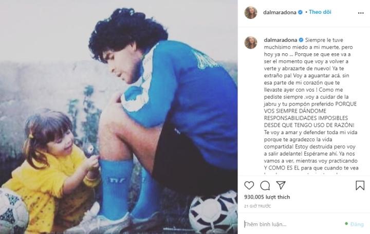 Con gái Maradona viết tâm thư xúc động tiễn biệt cha - 1