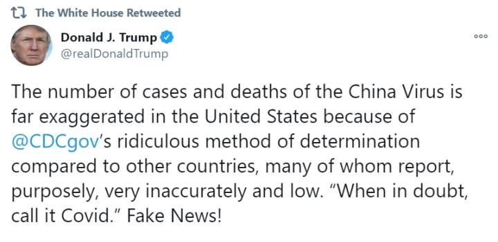 رئیس جمهور ترامپ: آمار CDC COVID-19 در ایالات متحده