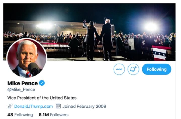 معاون رئیس جمهور پنس پس از یک آشوب ، پوشش توییتر خود را تغییر داد - 1