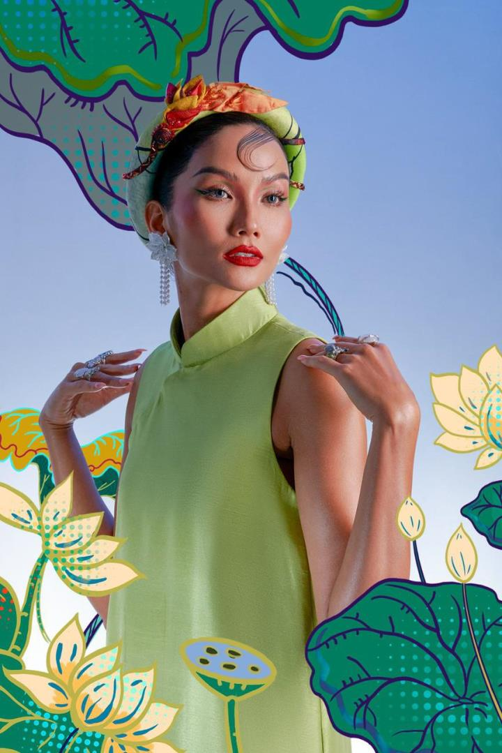 H'Hen Nie hoá thân mỹ nữ trong tranh Đông Hồ - 7