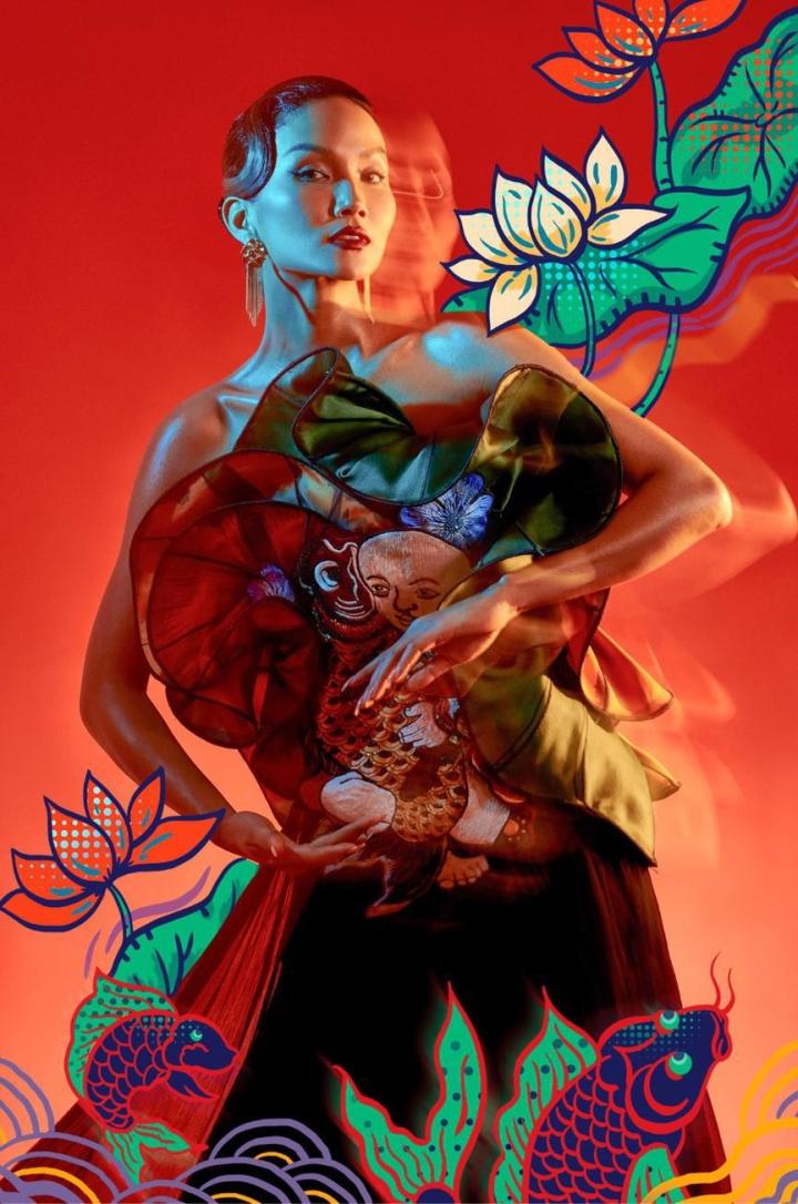 H'Hen Nie hoá thân mỹ nữ trong tranh Đông Hồ - 3