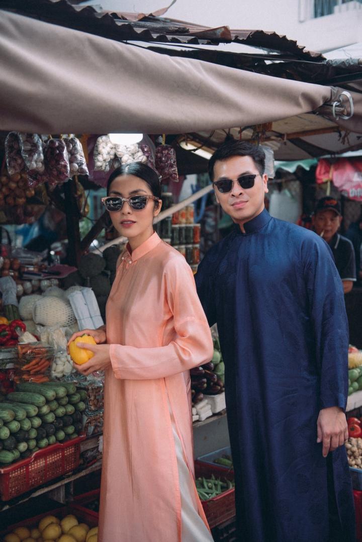 Tăng Thanh Hà diện áo dài sánh bước cùng người mẫu Quang Tuyến - 4